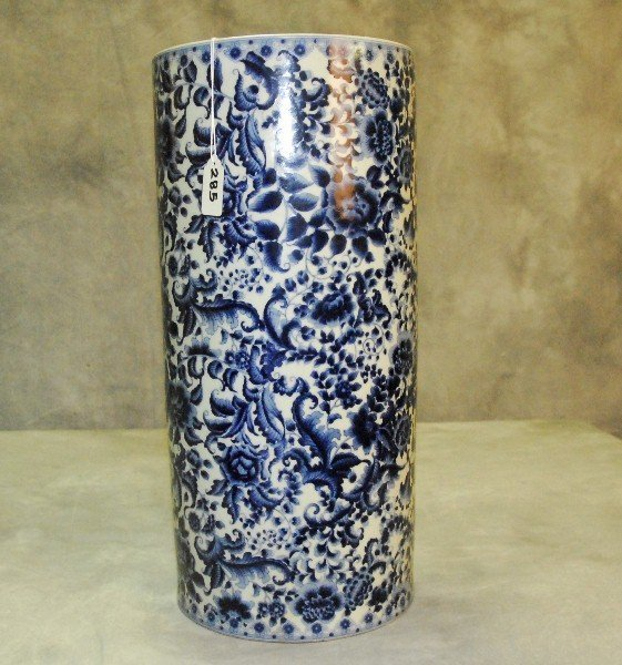 """Chinese blue and white porcelain umbrella stand.  H:18"""""""