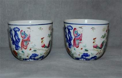 Very fine pair 18th/19th C Chinese famille rose cups.