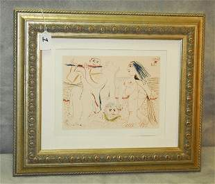 """Framed Picasso Colored book plate. Overall size H:15.5"""""""