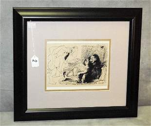 """Picasso framed book plate. Overall size H:17.5"""" W:19.5"""""""