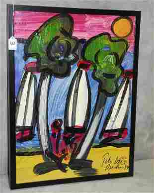 Framed Peter Keil painting, signed lower right Peter