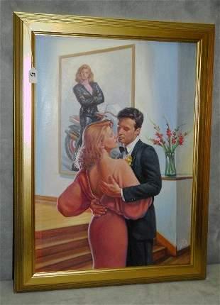 "Oil on board of romantic scene. Overall size H:32"""