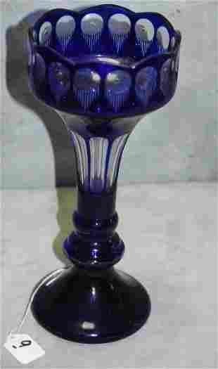"""Large Cobalt blue and clear crystal vase. H:12.25"""""""