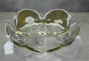 """Signed Orrefors crystal flower shaped bowl. H:4"""" D:9"""" ."""