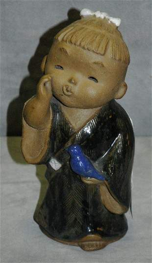 """Chinese pottery figure of girl. H:11.5"""" ."""