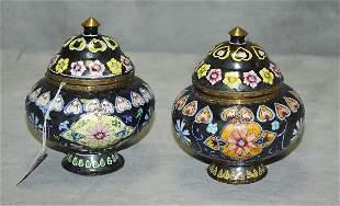 "Two Chinese Peking enamel covered jars. H:5.25"" D:4.5"""