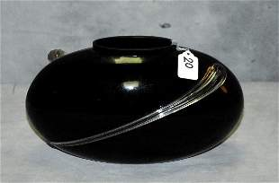 Black glass vase with clear banding wrapped around