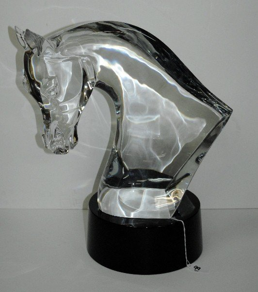 Large Lalique Crystal horse head on original signed