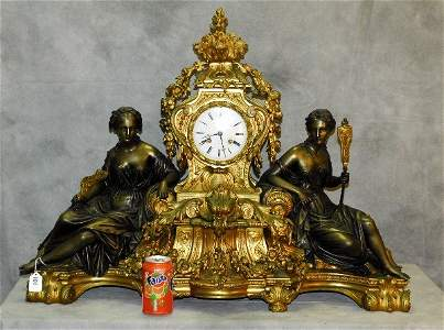 Monumental 19th c Bronze mantel clock with 2 seated