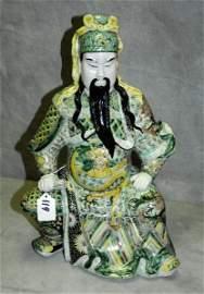 19th C Chinese famille verte porcelain warrior figure