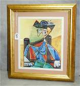Framed picasso lithograph from collection of domain