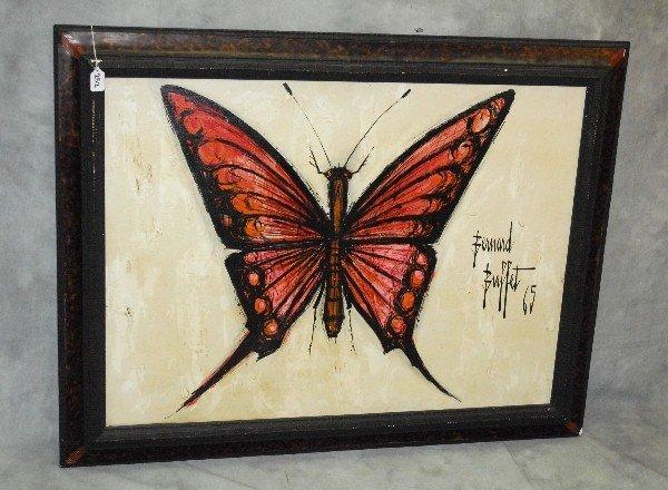 """Bernard Buffet """"Butterfly in Orange"""" oil on canvas"""