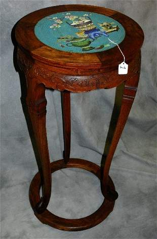 Antique Chinese hardwood table with cloisonne top.