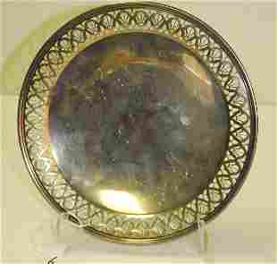 Tiffany & Co sterling silver round chased plate marked