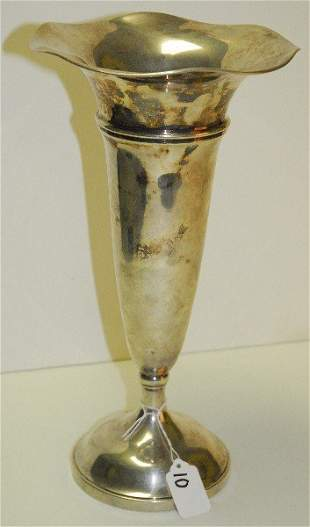 Large sterling silver weighted vase marked B&M