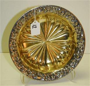 Birmingham Sterling silver bowl with gold wash