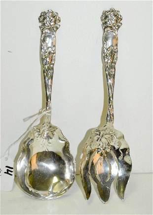 "2 Sterling silver serving pieces. L:9"" 7.84 t oz"
