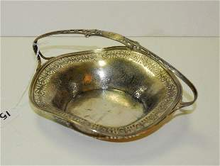 """Sterling silver chased bowl with handle. H:4.5"""" D:9"""""""