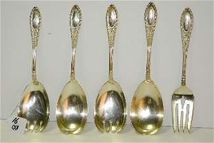 "5 sterling silver serving pieces. L:8.75"" 12.51 t oz"
