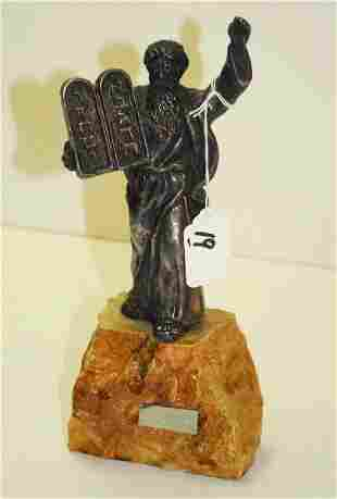 Judaica sterling silver statue of Moses on stone base