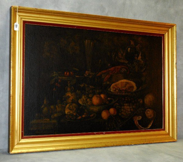 19th C Oil on paper laid on board of still life with