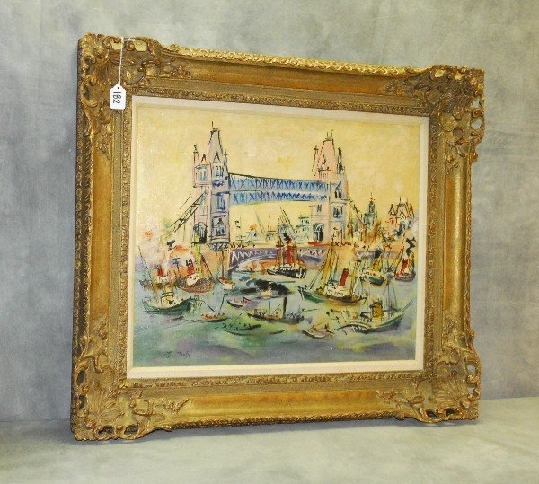 Jean Dufy 1888-1964 Oil on canvas of harbor scene with