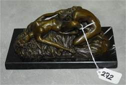 """Erotic bronze figural group of 2 woman. H:3.5"""" L:8.25"""""""