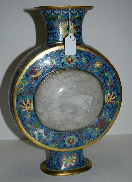 19th C Chinese cloisonne vase with 2 white jade plaques