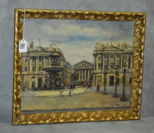 A.R. Noulin oil on canvas Paris street scene. Site size