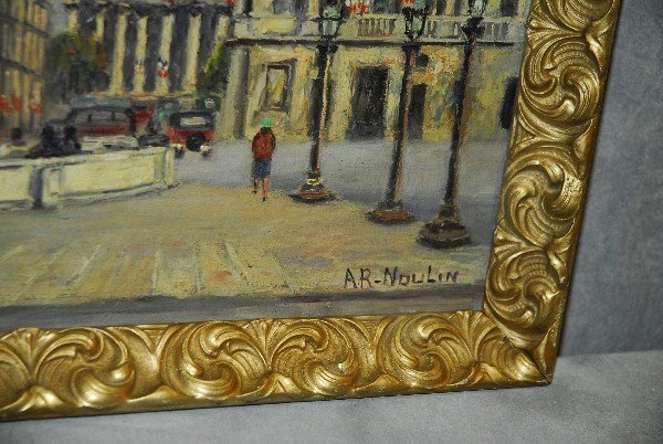 A.R. Noulin oil on canvas Paris street scene. Site size - 2