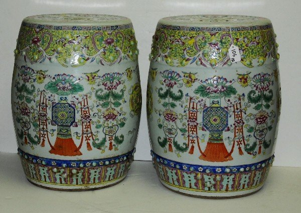fine pr Chinese early 19th C famille verte garden seats