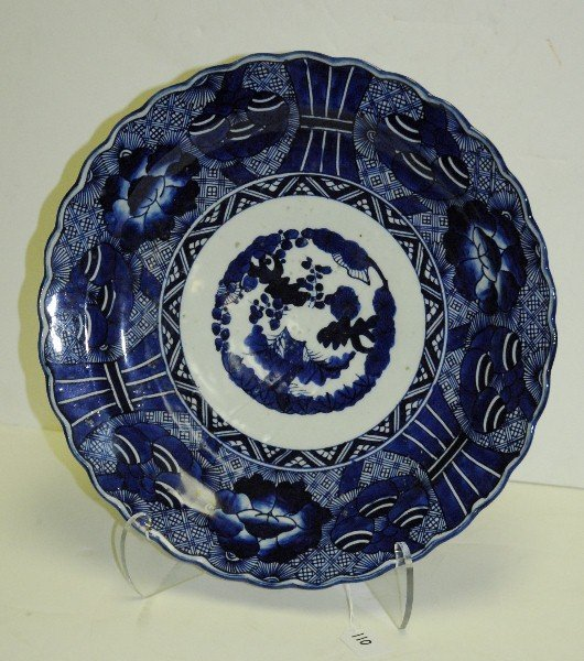 Large Japanese 19th C blue and white porcelain charger.