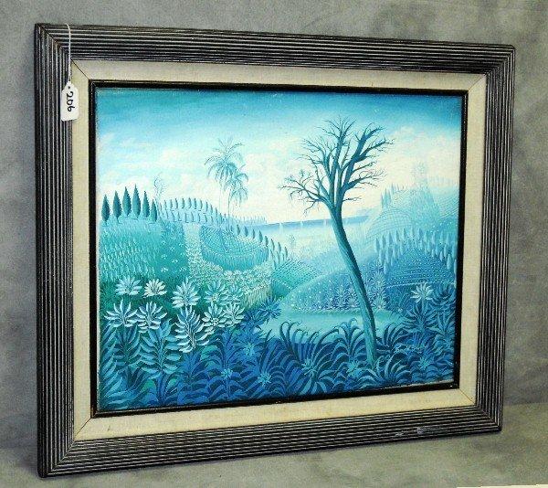 David Saintus (Haitian Artist) oil canvas of landscape