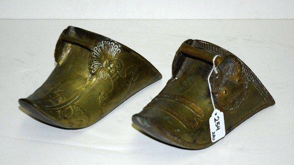 """2 Antique brass clog planters. H:10"""" - 2"""