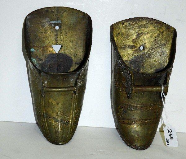 """2 Antique brass clog planters. H:10"""" - 4"""