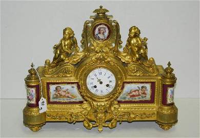 19th c dore bronze and sevres porcelain figural clock