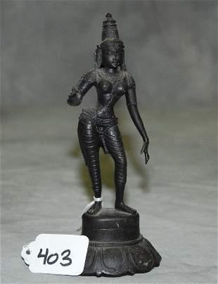 "Bronze standing female figure. H:6.5"""