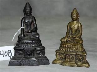 """2 Bronze seated Buddha's. H:5"""""""