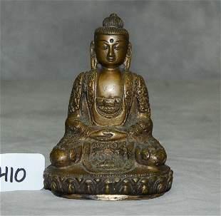 """Seated bronze Buddha. H:4.75"""""""