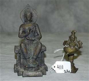 "2 Bronze buddha figures. Largest H:6.25"""