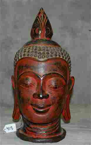 """Carved painted wood Buddha head. H:17.5"""""""