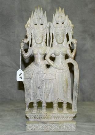 "Large soapstone figural group of 2 Buddha's. H:18.5"""
