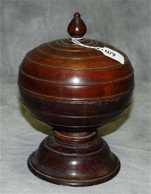 """Wood covered footed box. H:10"""" D:7.75"""""""