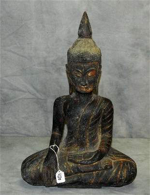 """Large seated Cambodian wood carved Buddha. H:23.5"""""""