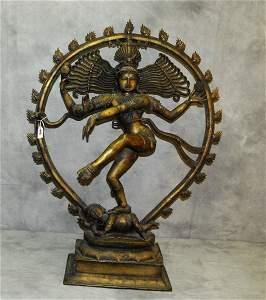 "Large antique bronze dancing Shiva. H:37"" W:28"""