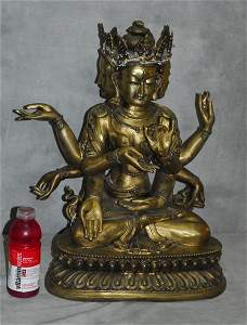 Large 19th C Chinese bronze 3 headed Shiva.