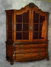 Large 19th c Dutch marquetry 2 part breakfront cabinet