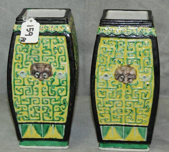 Pair Chinese famille Verte porcelain vases with chop