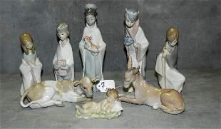 "Lladro porcelain 7 piece nativity set. Tallest H:8"""