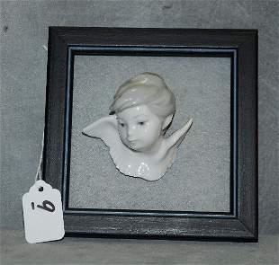 "Lladro porcelain angel head in frame. H:6"" W:6"""